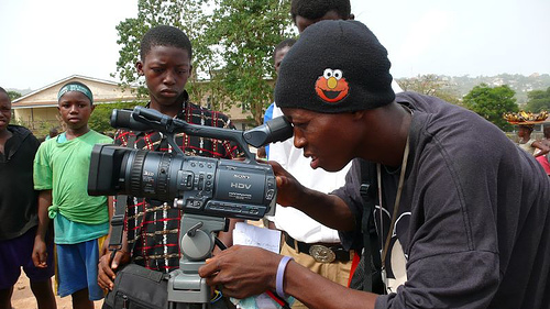 Filming on the streets - Freetown - Sierra Leone