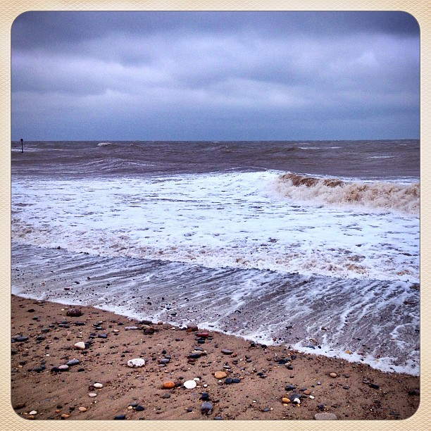 Braving the winds on Hornsea Beach
