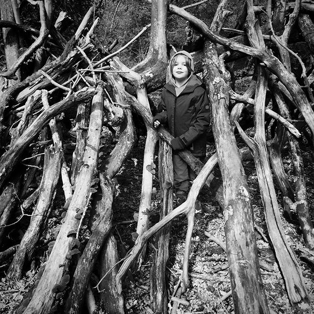 Wet and muddy den building at Beverley Westwood